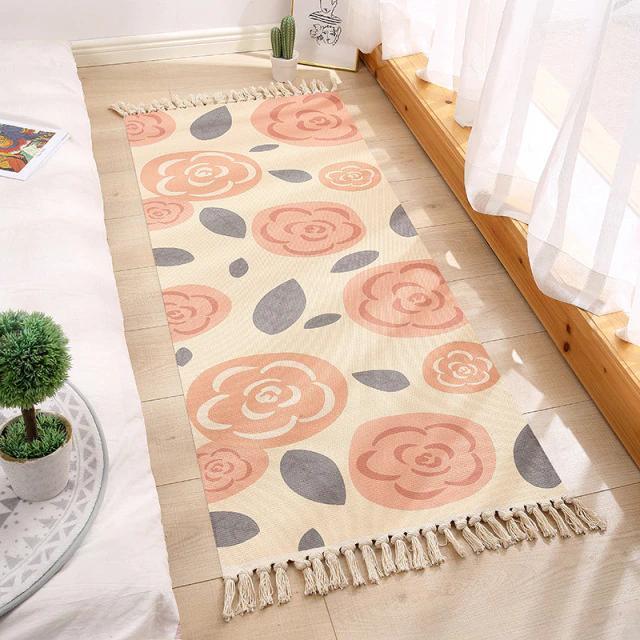 Бесплатная доставка! Хлопковый ретро коврик с бахромой для дома