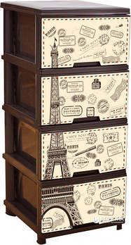 Комод на 4 шухляди з декором (т. коричневий, Париж) (123093)