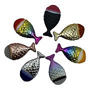 Макияжная кисть- рыбка / Маникюрная щетка-сметка с ручкой, микс