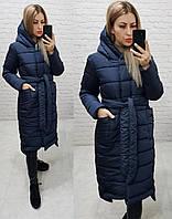 Стильное зимнее женское пальто темно-синее / темно-синего цвета M032