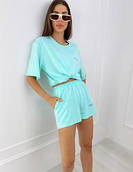 Женский трикотажный ментоловый костюм из футболки и шорт