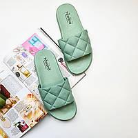 Женские сланцы шлепки красивые голубые для пляжа Fashion 1227