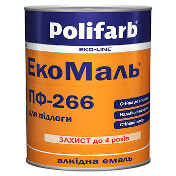 Емаль ЕкоМаль ПФ-266 жов.кор. 0,9 кг (Поліфарб)
