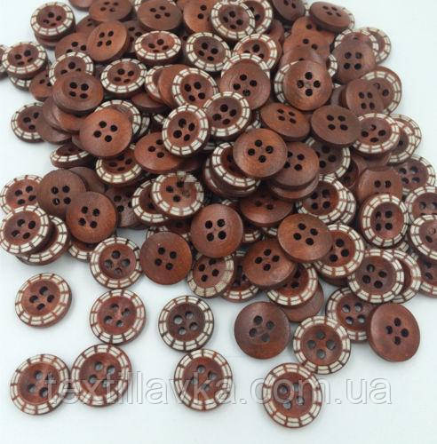 Дерев'яні гудзики оптом 13мм темно-коричневі з малюнком 200шт.