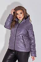 Куртка-ветровка БАТАЛ сиреневая/сиреневого цвета арт.1008