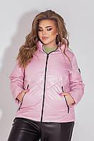 Куртка-ветровка БАТАЛ розовая/пудрового цвета арт.1008