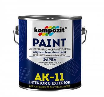 """Фарба для бетонних підлог АК-11 """"Kompozit"""" (білий, 2,8 кг)"""