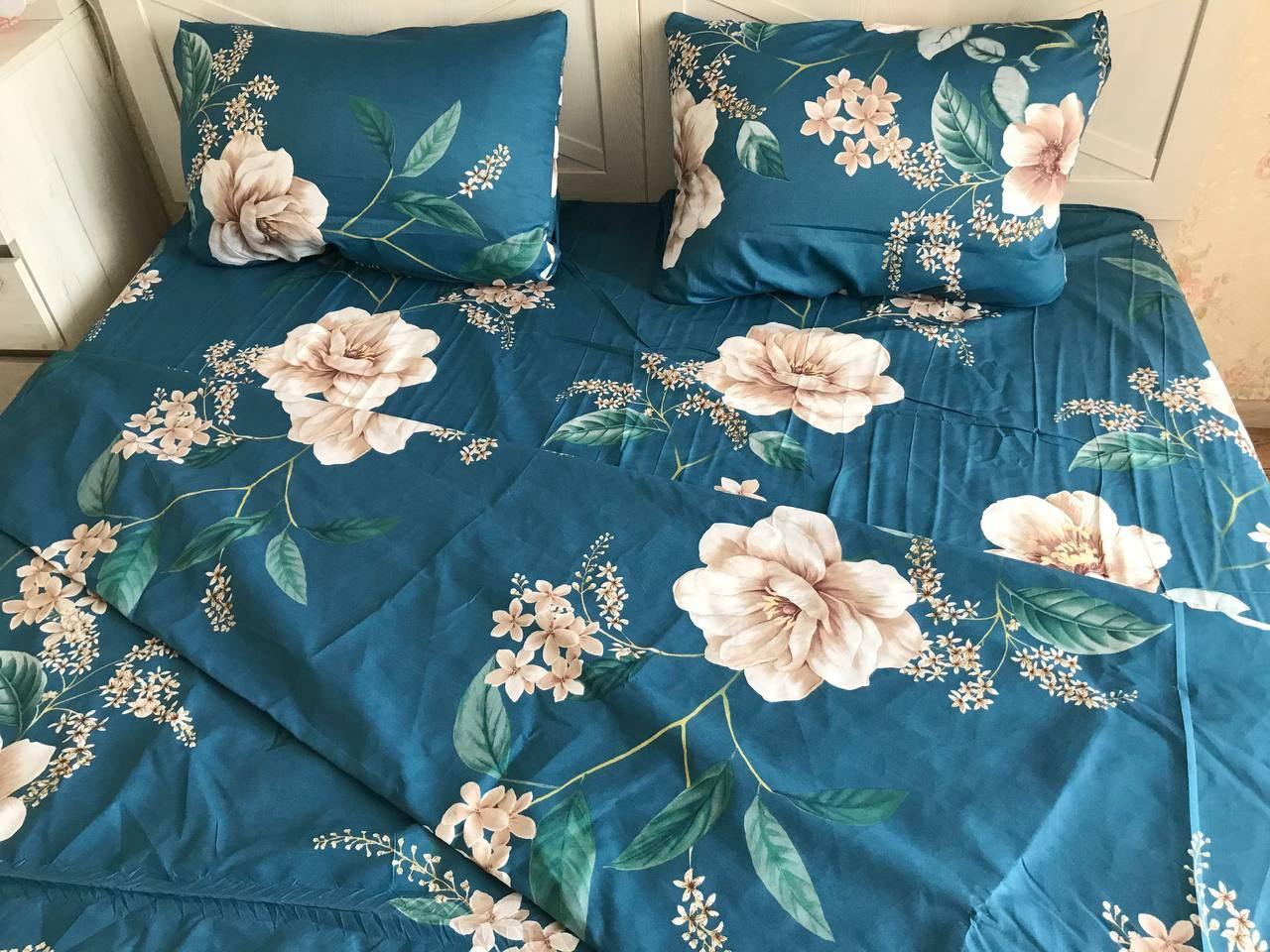 Евро комплект постельного белья с цветами
