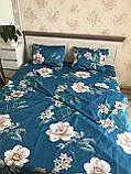 Евро комплект постельного белья с цветами, фото 2