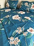 Евро комплект постельного белья с цветами, фото 4