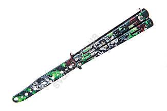 Нож бабочка тренировочный, учебный тупой балисонг 6471, безопасный детский нож для ребенка, не острый