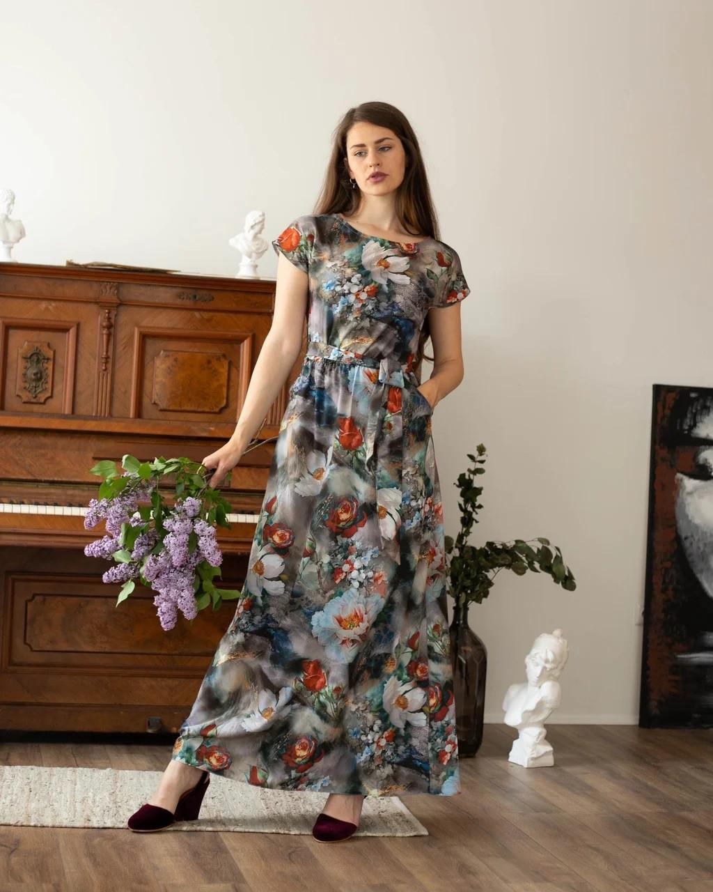Летнее платье в пол серо-синее