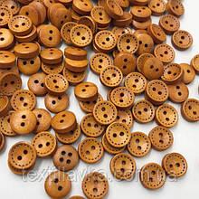 Деревянные пуговицы оптом 10мм пунктир коричневые 100шт.