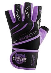 Перчатки для фитнеса и тяжелой атлетики Power System Rebel Girl женские PS-2720 Purple L