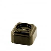 Розетка РА16-319 АБС (1-местная, евро) черная (8/180)