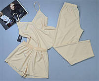 Пижама женская майка штаны однотонная бежевая.