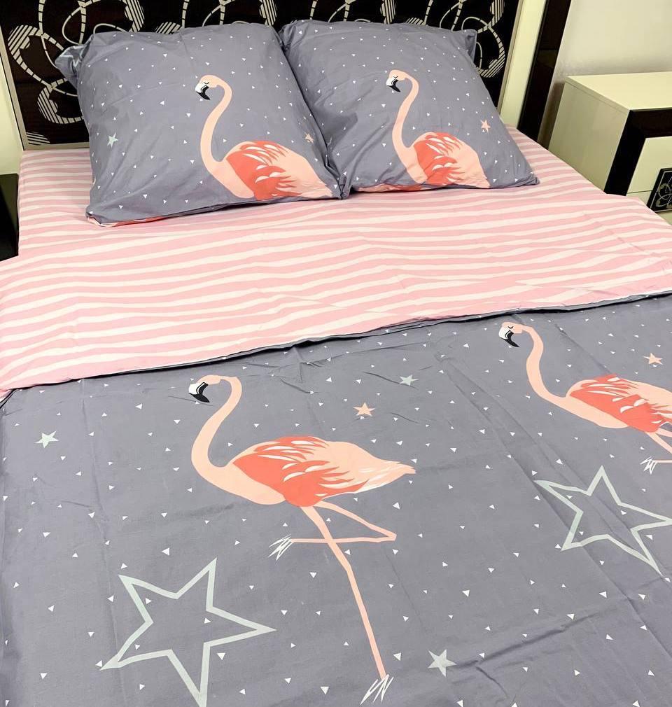 Постельное белье евро фламинго
