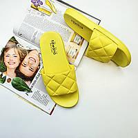 Женские вьетнамки шлепки стильные желтые  Fashion 1227