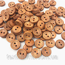 Деревянные пуговицы оптом 12 мм коричневый пунктир 200шт.