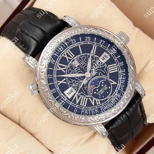 Стильные наручные часы Patek Philippe Geneve Silver/Black 1019-0074