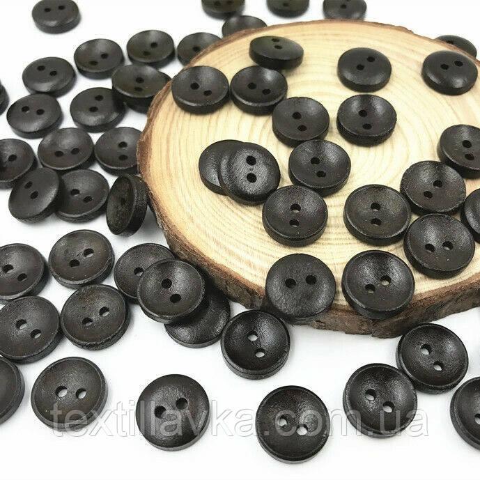 Деревянные пуговицы оптом 13мм черные 200шт.