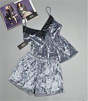 Пижамный велюровый комплект майка+шорты серебристый. . 46-48