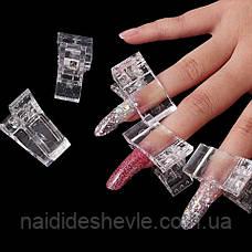 Прозрачный пластиковый зажим для верхних форм, типсов /  1 шт., фото 2