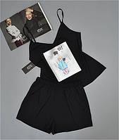 Пижама майка шорты с рисунком черная. Пижамы женские.