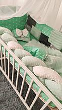 Бельё постельное 8 предм. Плюш Минки в кроватку, подушка, бант, плед-конверт, защита, балдахин и тд Микс видов