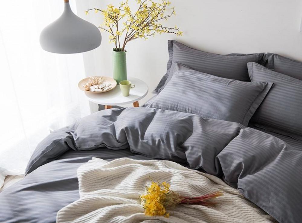 Постельное белье Сатин-страйп Lux Grey