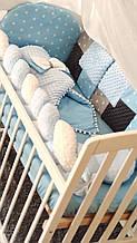 Бельё постельное 8 предм. Плюш Минки в кроватку, подушка, бант, плед-конверт, защита, балдахин и тд Голубой
