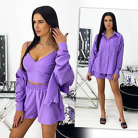 Летний женский прогулочный костюм: шорты, топ, рубашка 24-1431