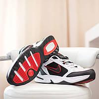 Мужские демисезонные кроссовки Nike Air Monarch черно белые с красной вставкой