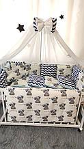 Бельё постельное 7 предметов Облако Хлопок. Подушка, одеяло-конверт, защита, балдахин. Тедди