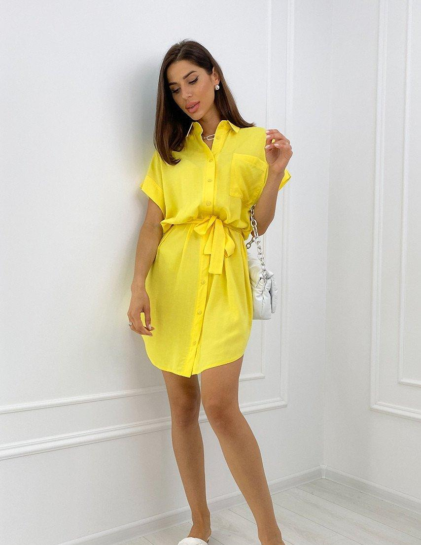 Женское желтое летнее платье-рубашка с поясом