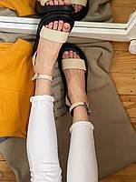 Женские кожаные босоножки бежевого цвета в наличии. Размеры 37-40, фото 1