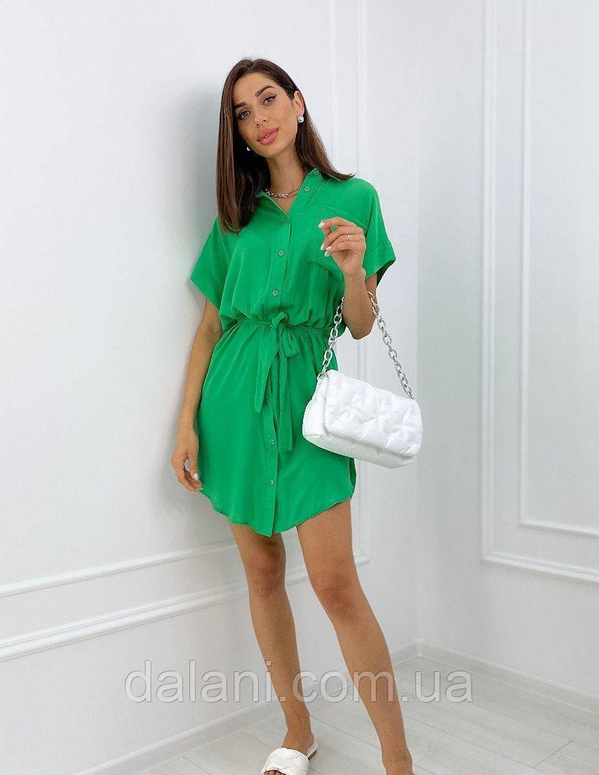 Жіноче зелене літнє плаття-рубашка з поясом