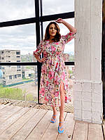 Пудровое женское платье в цветы длины миди большие размеры