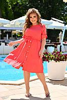 Легкое батальное приталенное платье с пуговицами на спинке, фото 1