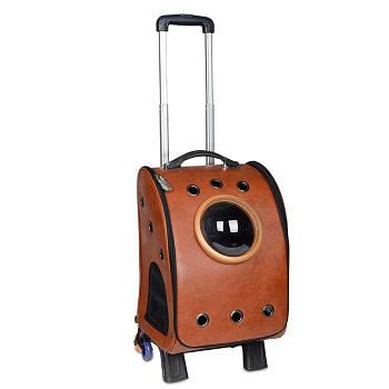 Рюкзак-иллюминатор на колесах, кожа, 33х44х27 см, коричневый