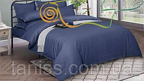 Двухспальный набор постельного белья из страйп-сатина, 100% хлопок, синий