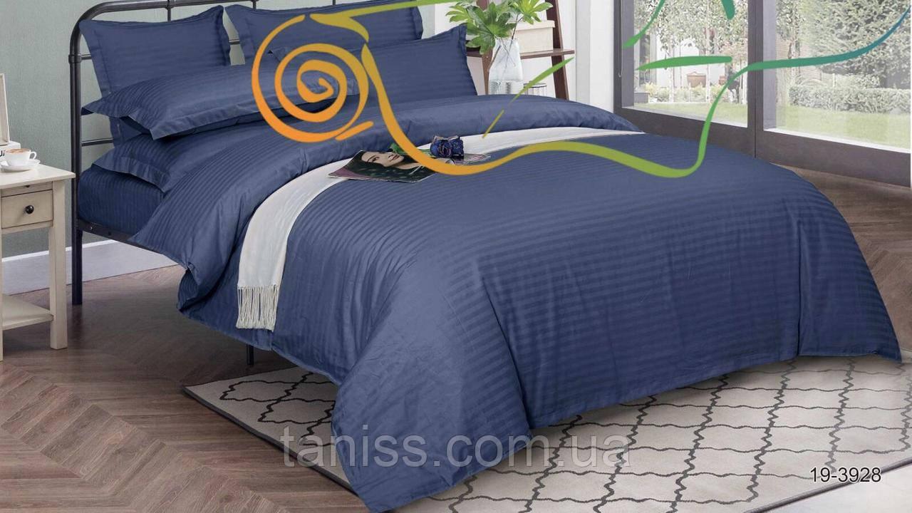 Евро набор постельного белья из страйп-сатина, 100% хлопок, синий