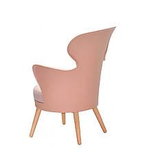 Стілець-крісло в скандинавському стилі пластиковий на букових ніжках з м'яким сидінням Armin ,колір рожевий 68, фото 2