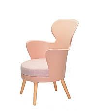 Стілець-крісло в скандинавському стилі пластиковий на букових ніжках з м'яким сидінням Armin ,колір рожевий 68, фото 3