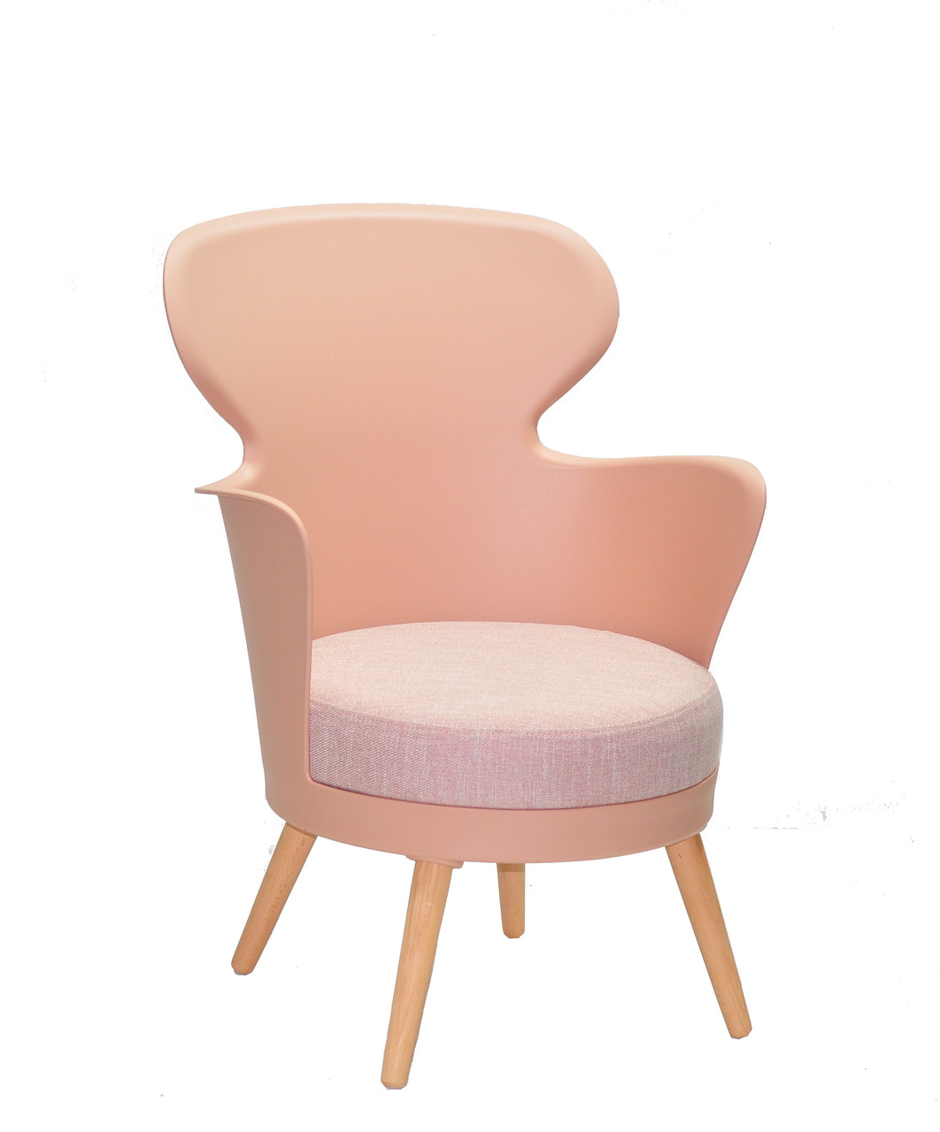 Стілець-крісло в скандинавському стилі пластиковий на букових ніжках з м'яким сидінням Armin ,колір рожевий 68