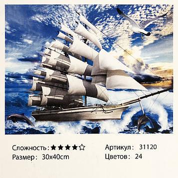 Картина за номерами: Корабель. Розміри: 30 х 40 див. Малювання фарбами за номерами (SV)
