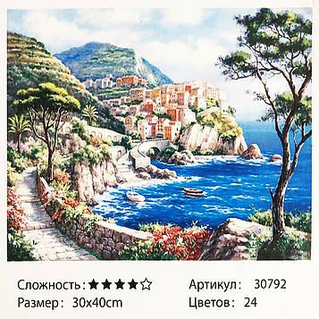 Картина за номерами: Місто біля моря. Розміри: 30 х 40 див. Малювання фарбами за номерами (SV)