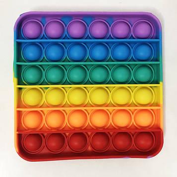 Іграшка-антистрес Pop It. Сенсорна іграшка Поп Іт. Натисни міхур. Різнобарвний квадрат (SV)