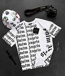 😜 Футболка Чоловіча футболка оверсайз / футболка оверсайз біла Palm Angels