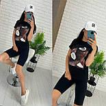 Чорні велосипедки і футболка з малюнком - жіночий костюм двійка (р. 42-54) 27101887, фото 6